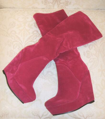 BN SERGIO TODZI SIZE 3 4 5 6 LEOPARD FUSHIA PINK WEDGE KNEE HIGH SLIM LEG BOOTS