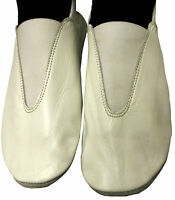 Leather Gymnastic Training Dance Shoes,full Rubber Sole, White, All Sizes