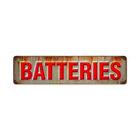 BATTERIES Metall Schild groß 51cm RUSTY VINTAGE USED OPTIK Oil V8 Batterien USA