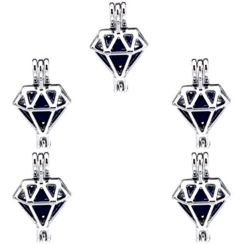 5X-K486 Rhombus Beads Perle Cage Médaillon Pendentif huiles essentielles Diffuseur
