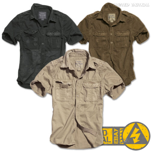 Surplus Vintage Mens Military Short Sleeve Casual Cotton Shirts Army Tactical