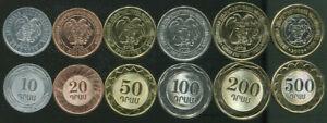 10-200 dram 2003-2004 UNC Armenia set of 5 coins