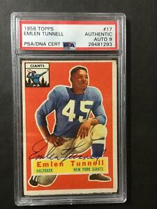 1956-Topps-Emlen-Tunnell-17-Signed-Autograph-AUTO-9-PSA-DNA-New-York-Giants-HOF