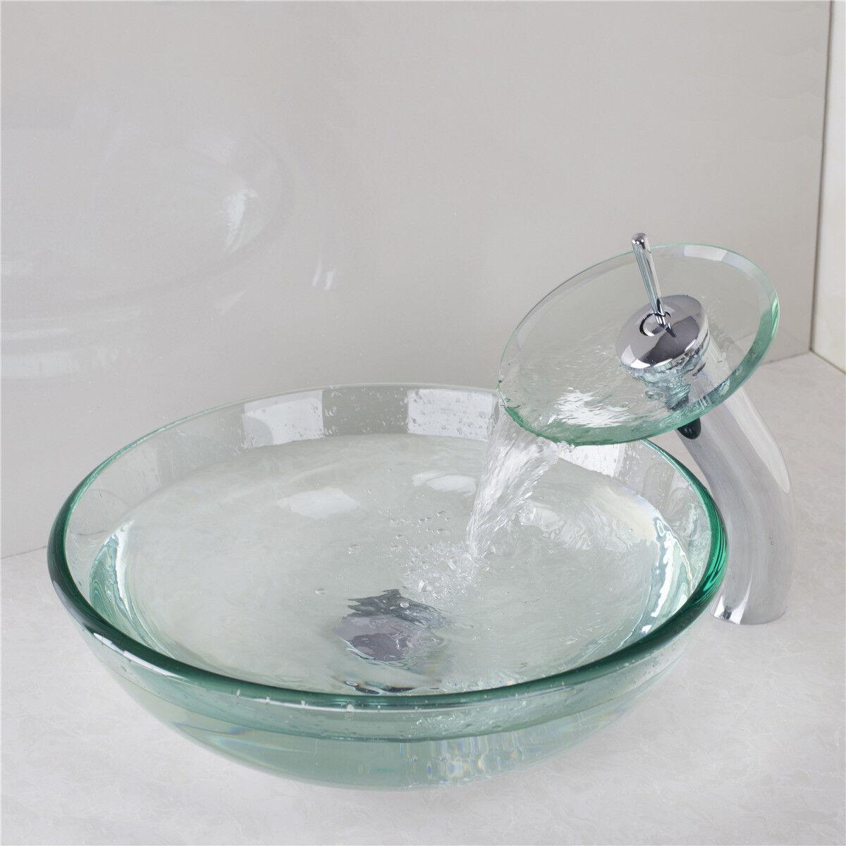F. de salle de bain navire évier vidange robinet bassin Vanity bol verre Combo Tour Trempé