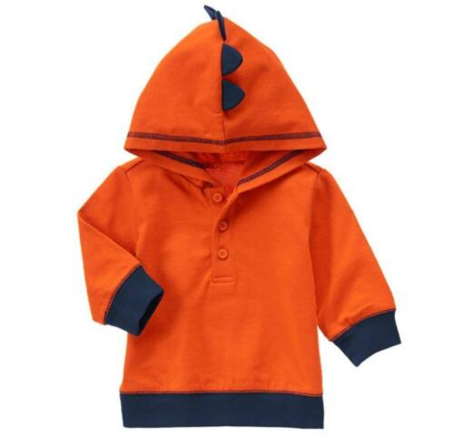 NWT Gymboree Boys Animal Friends Orange Dinosaur Hooded Shirt Sz 0-3 3-6 /& 6-12M