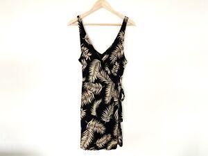 H-amp-M-Ladies-Dress-Size-Large-Cotton-Modal-Blend-Black-With-Leaf-Print-Wrap-Style