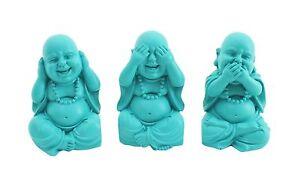 Set-of-3-Aqua-Blue-10cm-Hear-See-Speak-No-Evil-Buddha-Monk-Ornaments