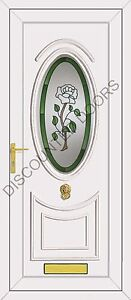 Kennedy One UPVC Front Door with Rose & Green Border Glazed Panel, Frame & Lette