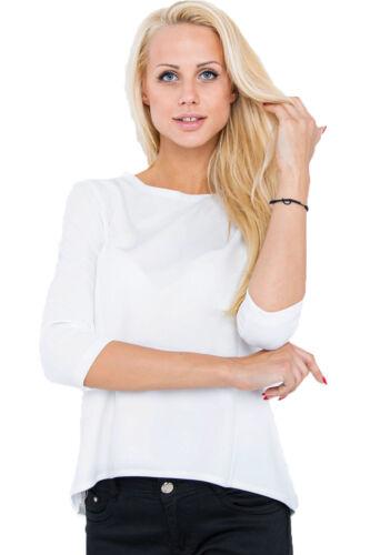 Damen Langarmshirt Shirt Top Bluse 3//4 lange Ärmel Zipper Büro elegant S 34 36