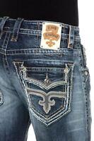 Mens Rock Revival Straight Jeans Matty 29 30 36 38 42 Long