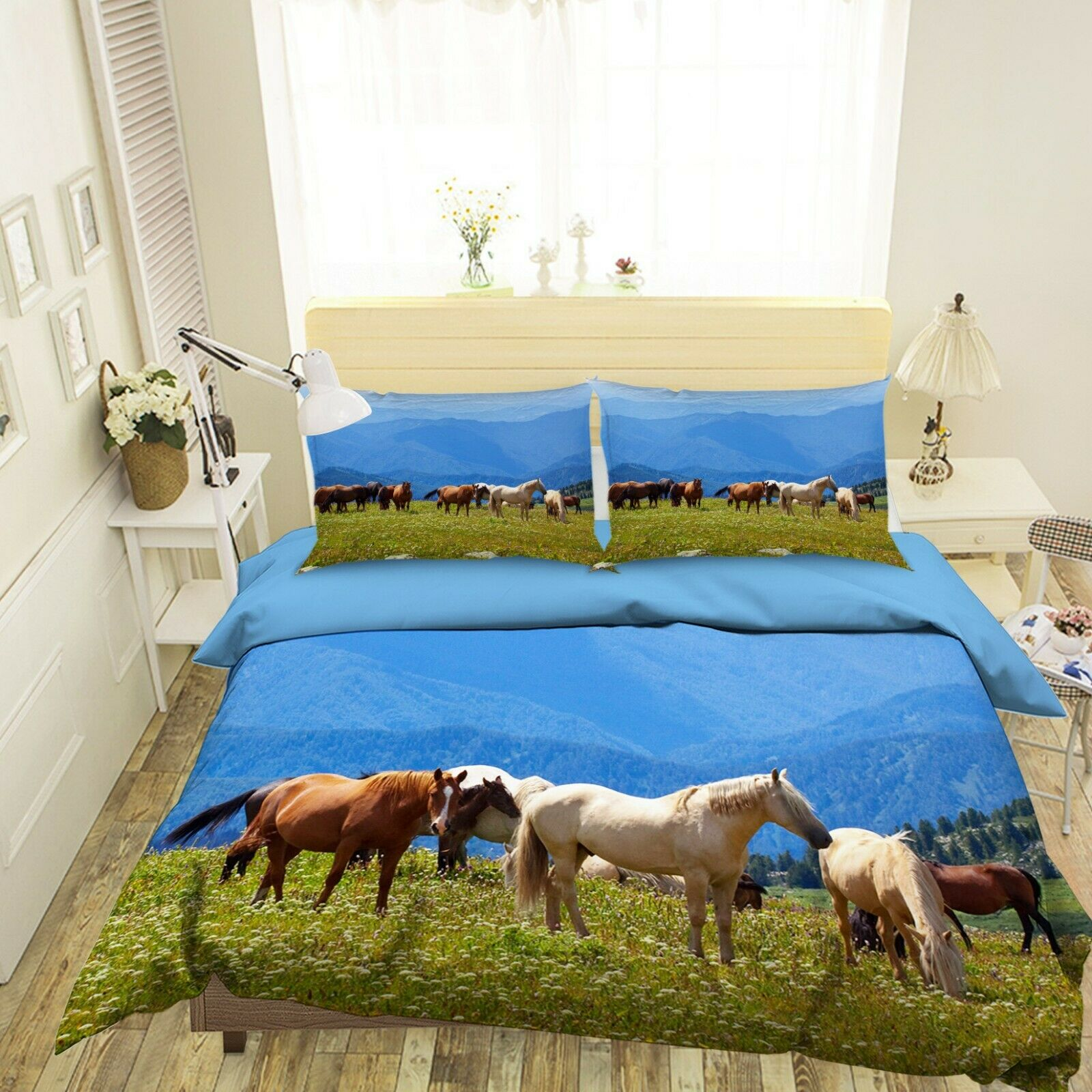 3D Horse Group O46 Animal Bed Pillowcases Quilt Duvet Cover Set Queen King Amy