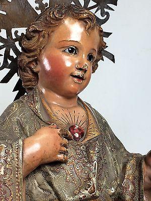 SACRED HEART OF JESUS CHILD. WOOD. ORIGINAL POLYCHROMY. SPAIN.CIRCA185.