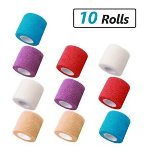 10 Rolls Self Adhesive Elastic Wrap Bandage Tape 2 3 4 X 5 Yard Assorted Color Ebay
