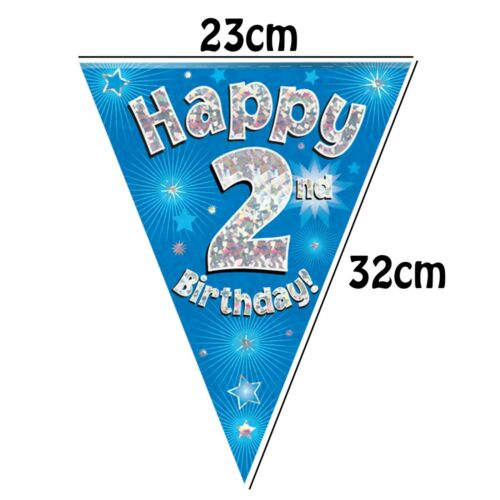 Cups Plates Bunting Napkins Blue 2nd Birthday Party Decor Tableware Set For 8