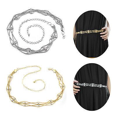 Womens Gold Diamante Waist Chain Belt Rhinestone Girls Charm Jewellery Fashion