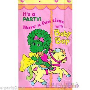 8 BABY BOP INVITATIONS VTG Barney Birthday Party Supplies