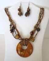 Large Wood Pendant. Multi Strands Of Wood & Glass Beads Necklace Set.