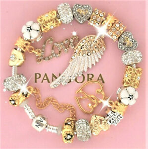 Authentic Pandora Bracelet Gold Angel Wing Mom Mother Day With European Charms Ebay