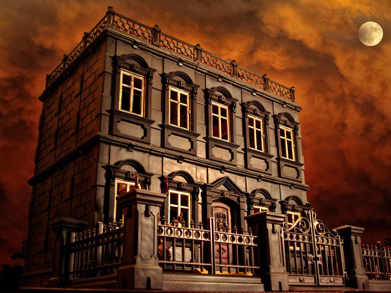 Playmobil Haunted Htuttioween Victorian Gothic uomosion 5300 custom house  80 pcs  economico e di alta qualità