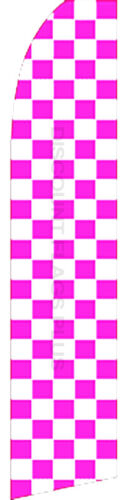 CHECKERED Pink White Swooper Banner Feather Flutter Bow Tall Curved Top Flag