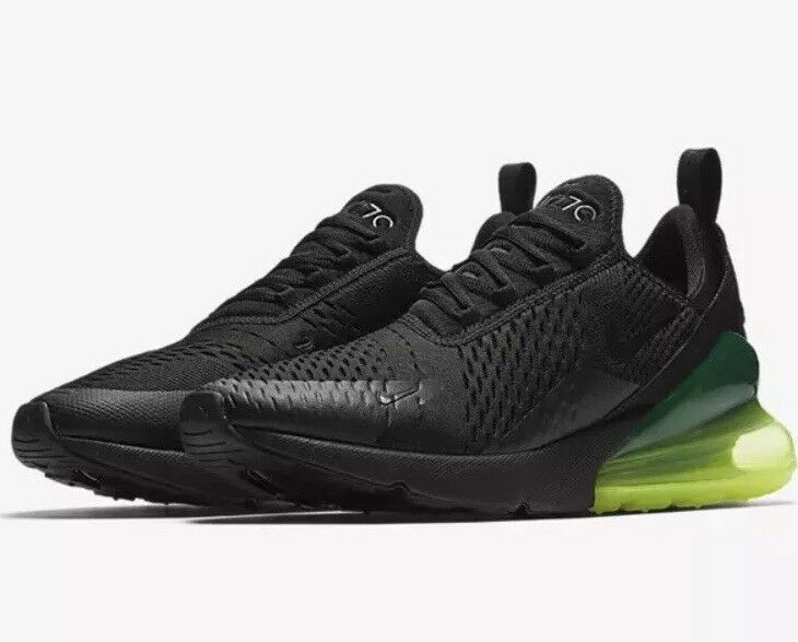 bf7e3e2afdc Nike Air Max 270 Running Running Running Shoes Men s Size 9 Black Black  Volt AH8050 011
