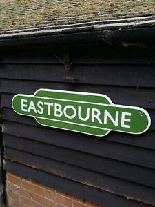 Eastbourne-Totem-Letrero-Esmaltado-Carril-Britanico-Ferrocarril-Signo-Station-Br
