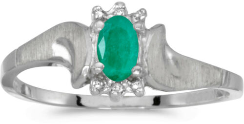 CM-RM1125W-05 10k White Gold Oval Emerald And Diamond Satin Finish Ring