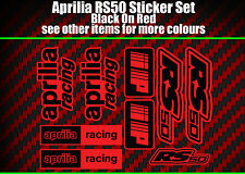 Aprilia RS50 DECALS STICKERS Red & Black  RS 50 Racing IP, 9 piece
