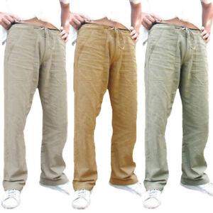 Mens Casual Cotton Linen Trousers Baggy Loose Drawstring Harem Pants Autumn