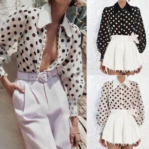 Women-Polka-Dot-Puff-Sleeve-Blouse-Tops-Ladies-See-through-Club-Party-OL-T-Shirt