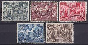 """Vaticano 1951 """"Calcedonia""""  serie di 5 valori usati """"US"""" buona centratura"""