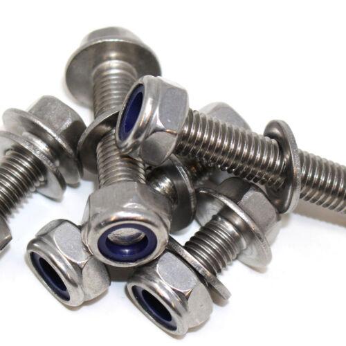 M8 A2 INOX ESAGONALE bulloni della flangia con libera A2 Nyloc NUT /& Rondelle A2 8mm