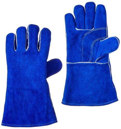 """US Forge 400 Welding Gloves Lined Leather 14/"""" Blue"""
