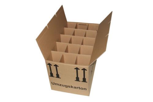 15 Gläserkartons Flaschen Karton Geschirrkarton 2-Wellig 15 Waben Gläsereinsatz