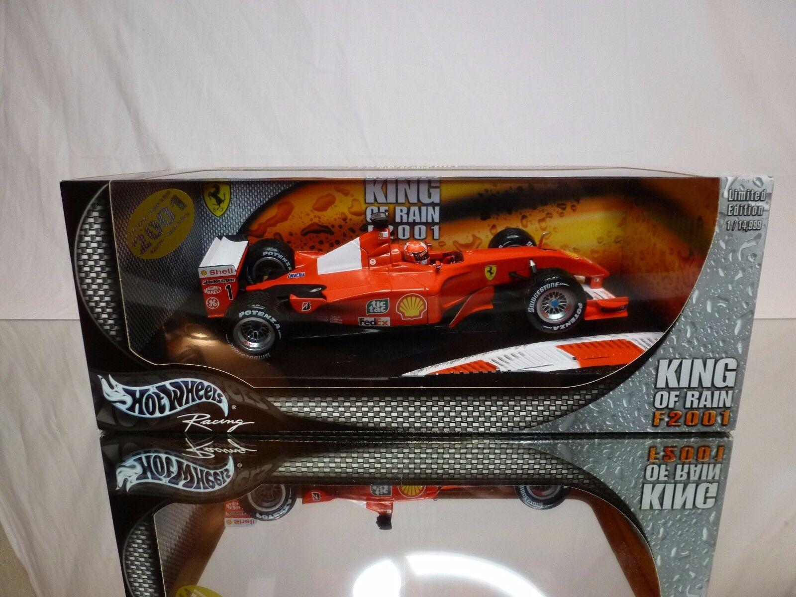 HOT WHEELS FERRARI F2001 KING of RAIN - SCHUMACHER - F1 1 18 - EXCELLENT IN BOX