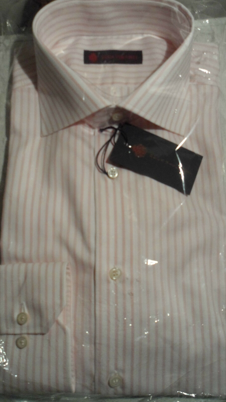 Size 16  Pink & White Candy Stripe Regular Fit Shirt in Cotton by Duca Visconti