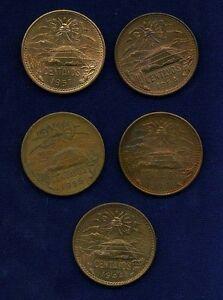 MEXICO ESTADOS UNIDOS  1944-1957  20 CENTAVOS COINS, GROUP LOT OF (5)