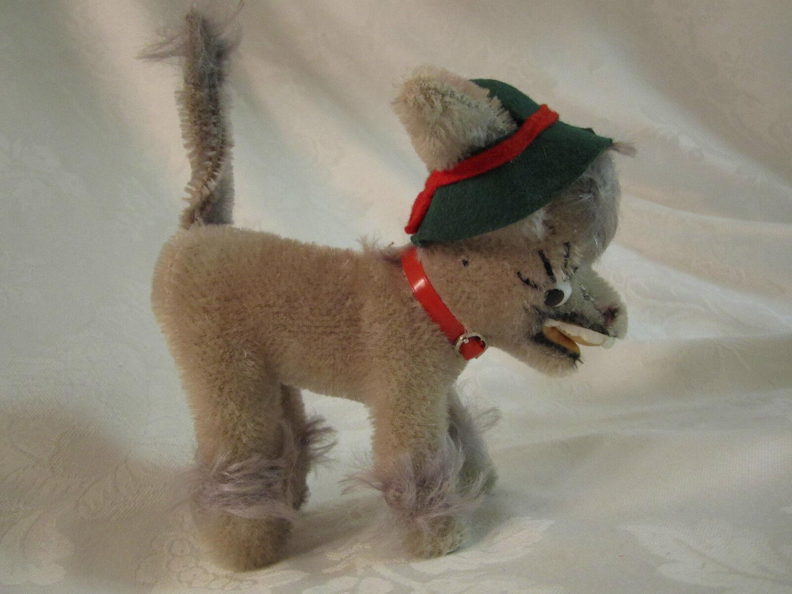Vintage Anker TYSKLAND Mohair Skrattande Donkey MUFTI grön hatt och röd krage 1960-talet