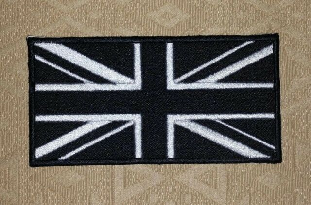 British Flag Union Jack Monochrome Black White Iron-on Embroidered Patch / Badge