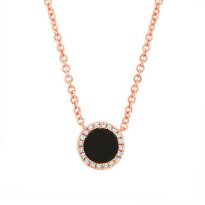 14k rose gold natural round black onyx and diamond circle pendant image is loading 14k rose gold natural round black onyx and aloadofball Gallery