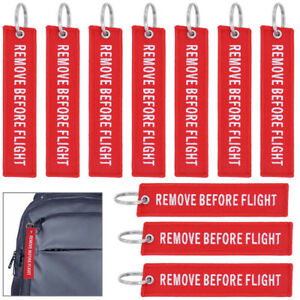 Image is loading 10-packs-Red-Remove-Before-Flight-Keychain-Aviation- af27ebb781