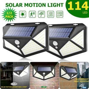 100-114LED-Lampada-Solare-Esterno-Faretto-con-Sensore-di-Movimento-Luce