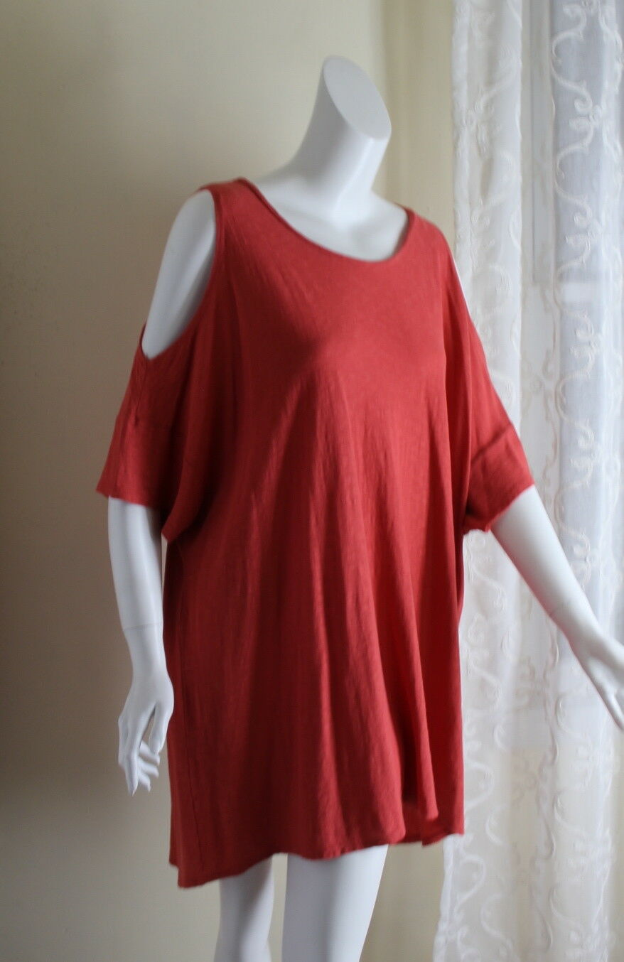 NWT Cut Loose OS S M L XL CORAL Knit Lagenlook Artsy Funky CottonLinen Tunic Top