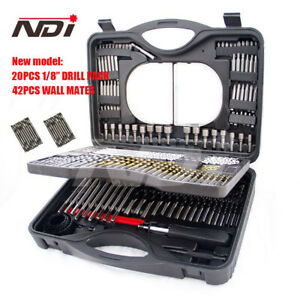 220PC COMBINATION METRIC TITANIUM DRILL BIT WOOD METAL MASONRY SET+ CASE ND-1005