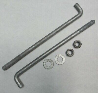 "10 Bent Foundation Bolts 1//2-13 X 10/"" Galvanized Steel L Hook Anchor Bolts"