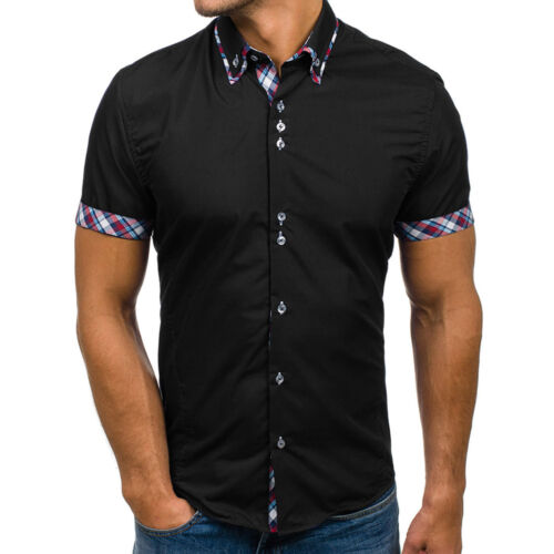 Mens Short Sleeve Shirts Slim Fit Casual Summer Check Cotton T-shirt Tops Size