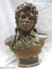 "14"" Fine brass bust sculpture carved copper beautiful Michael Jackson Statue"