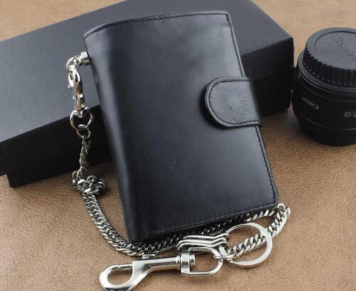 Hommes Cuir Véritable Motard Camionneur Rock Argent Pièces chaîne courte portefeuille sac à main noir