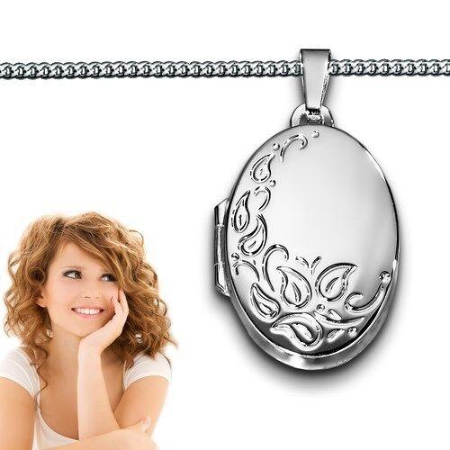 Frauen Medaillon oval für 2 Fotos Anhänger Dekor Gravur mit Kette Silber 925 Neu