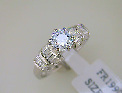 Cubic Zirconia Solitaire with Baguette Accents Ring Sterling Silver